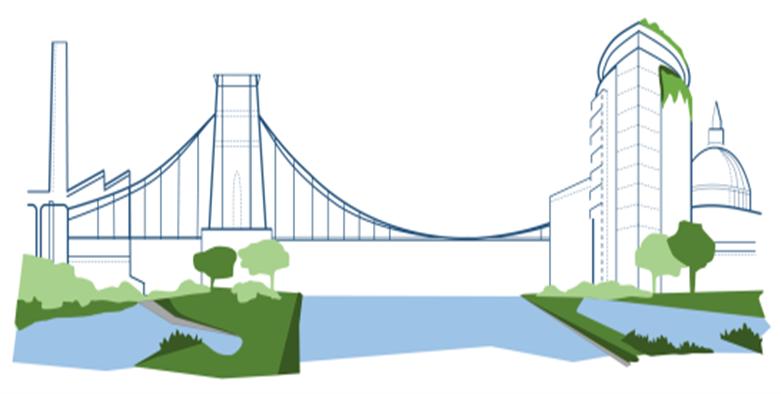 Urban flooding bridge image