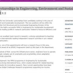 University Lectureships in Engineering, Environment and Sustainable Development